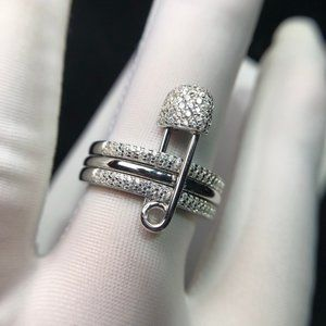 ☠APM Monaco Triple Hoops And Safety Pin Ring